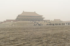Forbidden City enveloped by the heavy fog and haze Royalty Free Stock Images