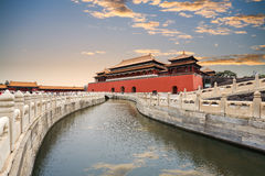 The forbidden city with gold water bridge Stock Images