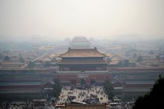 Aerial view on forbidden city, gugong, with smog in Beijing, CHINA, traditional chinese architecture royalty free stock image