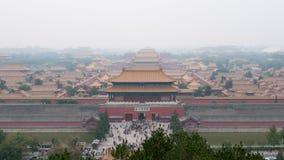 Forbidden City i Peking som beskådas från Jinshan, parkerar Royaltyfria Bilder