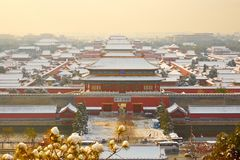 Forbidden City i snö, Peking Royaltyfri Bild