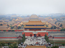 Forbidden City from Jingshan Hill 2. View of forbidden city back gate from hilltop stock photo