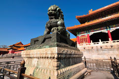 Forbidden City Lion. Lying at the center of Beijing, the Forbidden City, called Gu Gong, in Chinese, was the imperial palace during the Ming and Qing dynasties Stock Photography