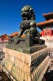 Forbidden City Lion. Lying at the center of Beijing, the Forbidden City, called Gu Gong, in Chinese, was the imperial palace during the Ming and Qing dynasties Stock Images