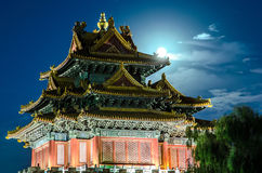 Forbidden city and moon Royalty Free Stock Photos