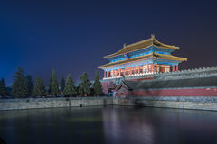 Forbidden city. Night scene of a palace in forbidden city royalty free stock images