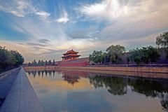 Forbidden City north gate and the city moat Stock Image