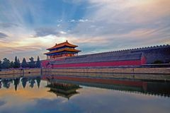 Forbidden City north gate and the city moat Royalty Free Stock Photos