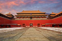 Forbidden City and snows, Beijing stock photography