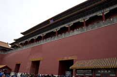 Forbidden city red big wall, Beijing stock image