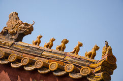 Forbidden City Roof Carving, Beijing China Stock Photos