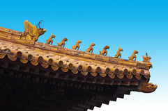 Forbidden City Roof Carving, Beijing China Travel. Closeup detail of the traditional architecture of a building at the Forbidden City in Beijing, China. Here you stock images