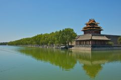 The Forbidden City's Corner Tower in Beijing Royalty Free Stock Photography