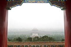 Forbidden City in the Smog. View of the Forbidden City, Beijing, shrouded in smog Stock Image