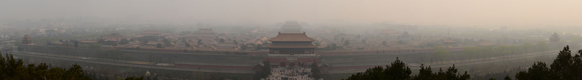 Forbidden city in smog 2014. I shot this panorama when the smog in Beijing had reached its most height this year Royalty Free Stock Image