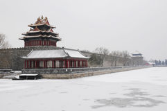 Forbidden city after snow Stock Photo