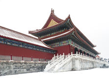 Forbidden city in snow Stock Photography