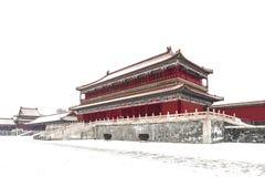 Forbidden city in snow. Building of forbidden city in beijing Royalty Free Stock Photo