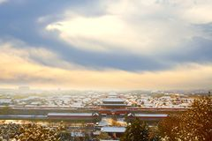 Forbidden City in snow, Beijing, stormy sky cloudy Stock Image