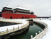 Forbidden City after snow Stock Images