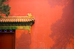 Red wall, yellow glazed tile, Beijing Forbidden City Wall after snow. The Forbidden City after the snow on February 19, 2019, the red wall, the yellow tile, the royalty free stock photography