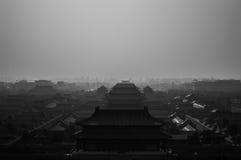 Forbidden City som ses från Jingshan, parkerar templet på en kulle, Peking, Kina Arkivbilder