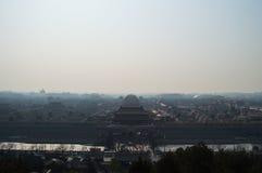 Forbidden City som ses från Jingshan, parkerar templet på en kulle, Peking, Kina Royaltyfri Bild