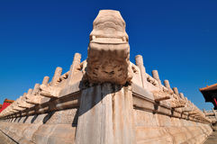 Forbidden City Stone Dragon. Lying at the center of Beijing, the Forbidden City, called Gu Gong, in Chinese, was the imperial palace during the Ming and Qing Royalty Free Stock Image