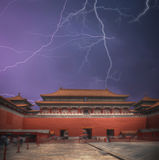 Forbidden City. A strong thunderstorm and a lot of lightning. Forbidden City is the largest palace complex in the world. Located in the heart of Beijing. A Stock Image