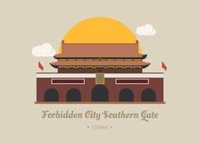 Forbidden City sydlig port, porslin stock illustrationer
