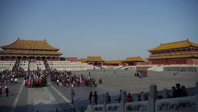 Forbidden City & tourist,China's royal ancient architecture. stock footage