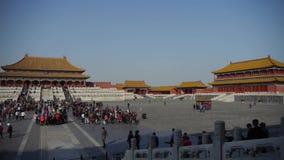 Forbidden City & turist, Kina kungliga forntida arkitektur arkivfilmer