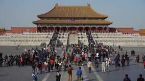 Forbidden City & turist, Kina kungliga forntida arkitektur lager videofilmer