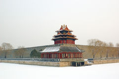 Forbidden city turret. In snow Royalty Free Stock Photography