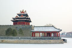 Forbidden city turret. In snow Stock Photo