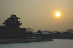 Forbidden city turret. In snow Stock Photography