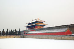 Forbidden city turret. In snow Royalty Free Stock Image