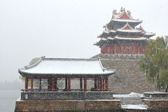 The forbidden city watchtower in snow Stock Photo