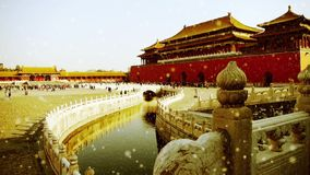 Forbidden city & water moat bridge,China's royal architecture in snow.