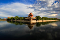 The Forbidden City west turrets. It`s sunny in Beijing, the blue sky white clouds, in the famous view of the Forbidden City west turrets, feel the atmosphere of Stock Image