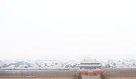 The forbidden city in winter with snow Stock Photos