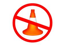 Forbidden Creative safety road design.Traffic cone isolated on white.Road repair royalty free stock photography