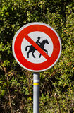Forbidden entry to equestrians. French road sign - Forbidden entry to equestrians Royalty Free Stock Photography