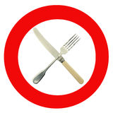 Forbidden food - warning sign Royalty Free Stock Images