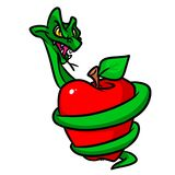 Forbidden fruit apple snakes cartoon illustration Stock Photography