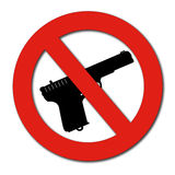 No Guns or Weapons sign. Forbidden guns sign  on white Royalty Free Stock Image