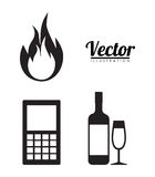 Forbidden icon image. Fire cellphone alcoholic drinks forbidden icon image  illustration design Stock Image