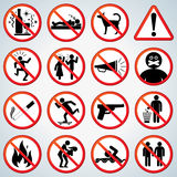 Forbidden Icons Set Royalty Free Stock Images