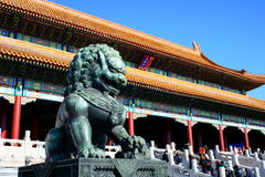 Forbidden Lion. The Forbidden City was the Chinese imperial palace from the Ming Dynasty to the end of the Qing Dynasty. It is located in the middle of Beijing Stock Images