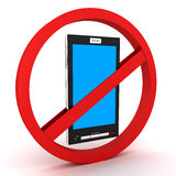 Forbidden and mobile phone Royalty Free Stock Photo